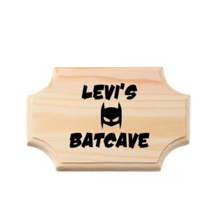 naambordje batcave superheldenshop