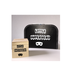 kraamkado little superhero kinderkoffer spaarpot slab