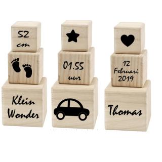 houten geboorte blokken klein wonder