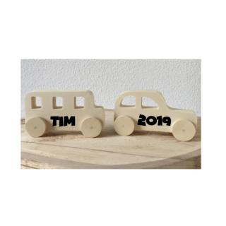 set houten auto naam kraamkado