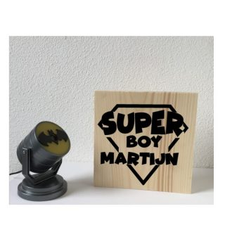 decoratie kinderkamer houten blok Superboy