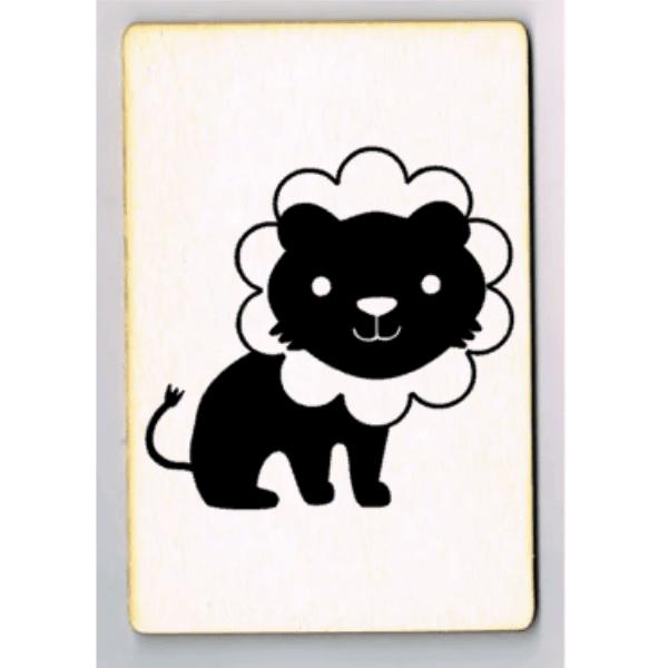 kaart leeuwtje houten ansichtkaart leeuw