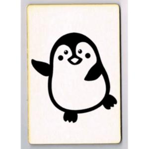 Pinguin ansichtkaart houten woonkaart
