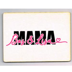 ansichtkaart mama met namen kinderen gepersonaliseerd houten kaart