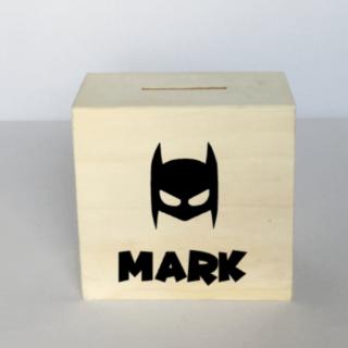 Houten spaarpot Batman masker met naam 10x10cm
