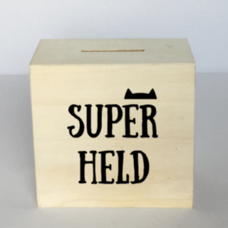 spaarpot superheld 10x10cm