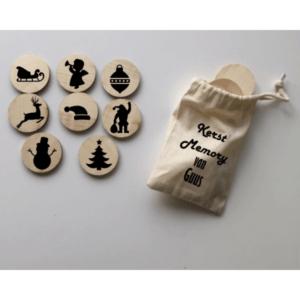 houten memory Kerst in zakje