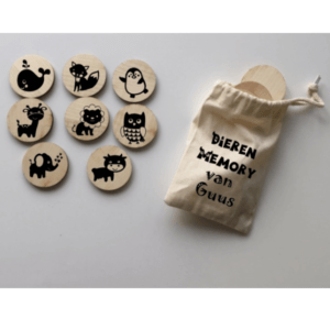 houten dieren memory in zakje met naam