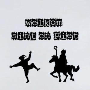 Herbruikbare raamsticker welkom Sint en Piet