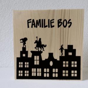 Houten decoratieblok sinterklaas grachtenpandjes