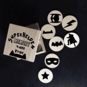 houten superhelden memory in doosje