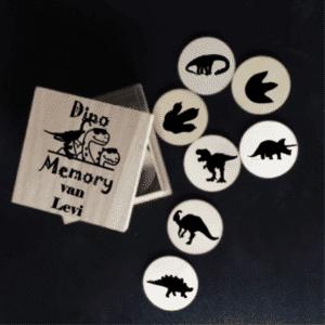 Houten Dinosaurus memory in doosje
