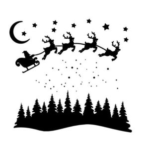 raamsticker kerst slee kerstman winter