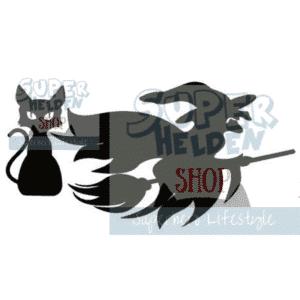 Statische Raamsticker Halloween heks zwarte kat