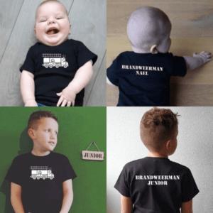 baby kinder tshirt Brandweerauto met naam