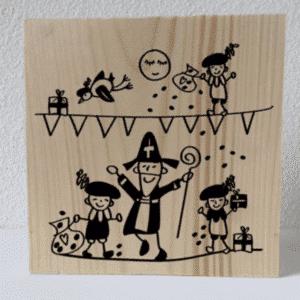 Houten decoratieblok sinterklaasfeest