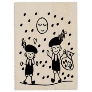 Houten kaart strooiende pieten-sinterklaas